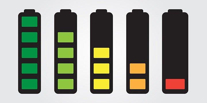 Batteriesymbole mit verschiedenen Ladeständen