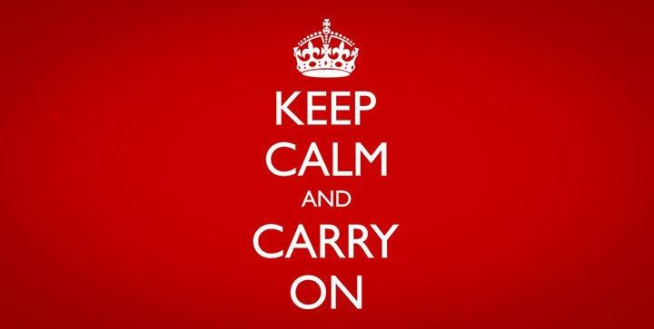 """Beispiel für ein Mantra: Britisches Plakat """"Keep calm and carry on"""" aus dem zweiten Weltkrieg"""