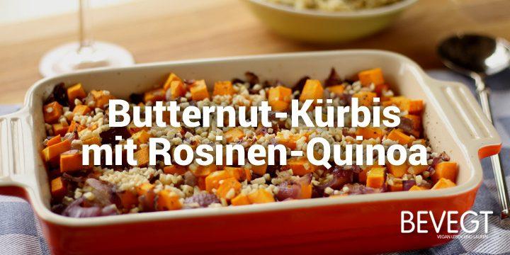 Butternut-Kürbis mit Rosinen-Quinoa und Chili-Mandeln