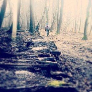 Immer einen Schritt vor den anderen setzen ... Katrin im Wald bei Taunusstein