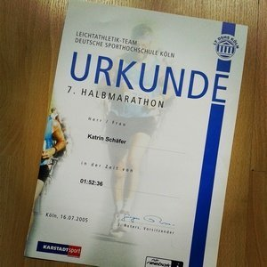 Urkunde erster Halbmarathon