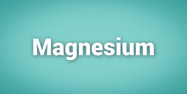 """Das Wort """"Magnesium"""" auf einem grünen Hintergrund"""