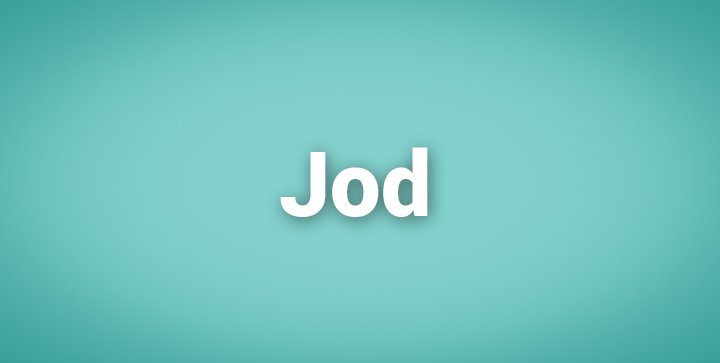 """Das Wort """"Jod"""" auf einem blauen Hintergrund"""