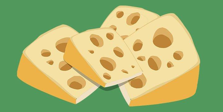 Titelbild: 4 Käsestücke im Comic-Stil vor einem grünen Hintergrund