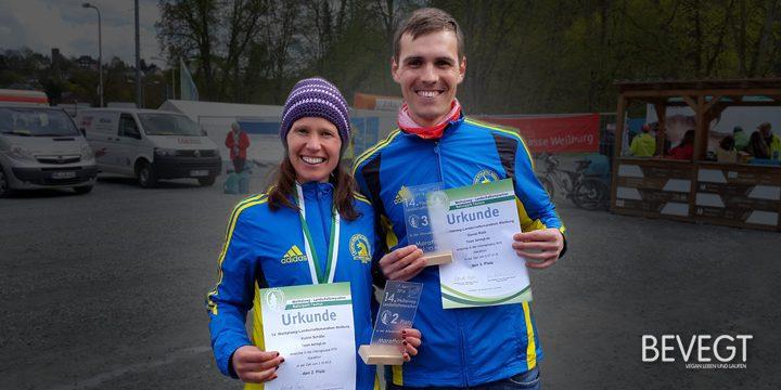 Titelbild: Daniel und Katrin im Ziel beim Weiltalweg Marathon 2016