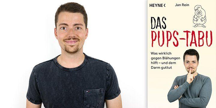 """Der Blogger und Autor Jan Rein und das Cover seines Buches """"Das Pups-Tabu"""""""