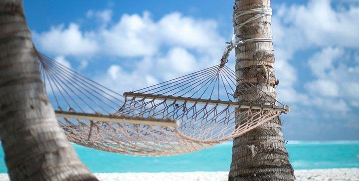 Eine Hängematte zwischen zwei Palmen am Strand