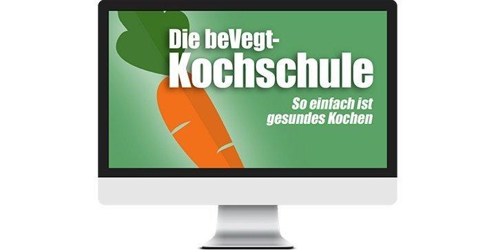 Bildschirm mit dem Logo der beVegt-Kochschule