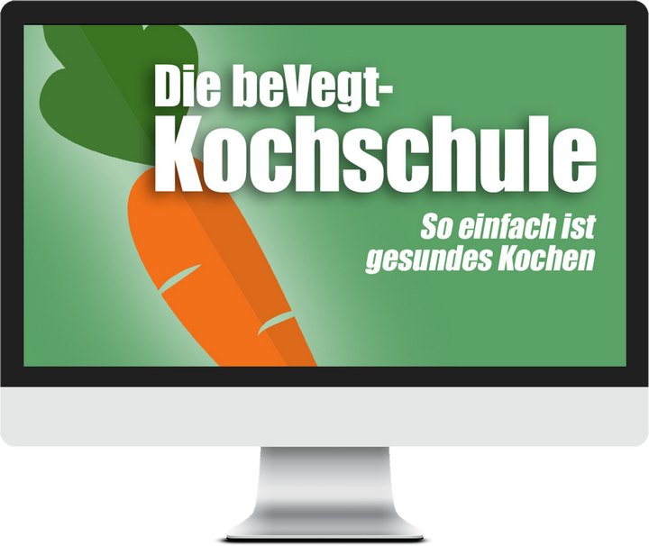 Ein Bildschirm mit dem Logo der beVegt-Kochschule
