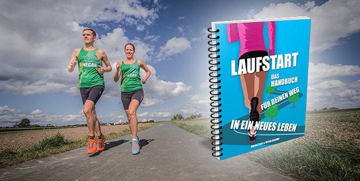 """Daniel und Katrin beim Laufen und das Cover von """"Laufstart"""""""
