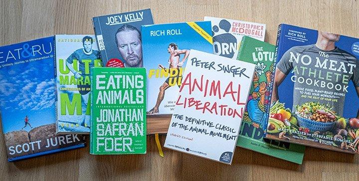 Titelbild: Bücher zum Thema Laufen und vegane Ernährung