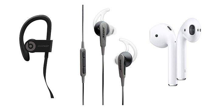 Drei Sportkopfhörer-Modelle von Beats by Dre, Bose und Apple