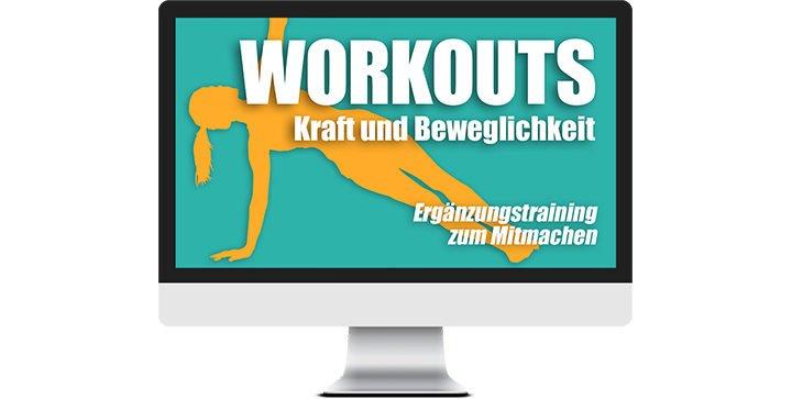 Ein Bildschirm mit dem Logo von WORKOUTS