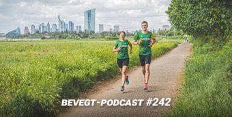 Titelbild: Katrin und Daniel beim Laufen vor der Frankfurter Skyline