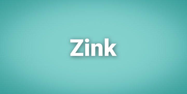 """Das Wort """"Zink"""" auf einem blauen Hintergrund"""